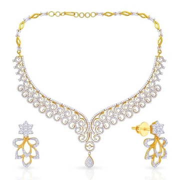 22kt, 916 Hall-Marked, Yellow Gold royal bridal Design Of Diamonds Necklace For Women Jkn022