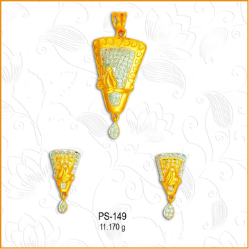 22KT Gold Triangle Shape CZ Pendant Set PS-149