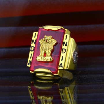 Mens India Exclusive Ashok Stambh Gold Fancy Red Stone Ring-MHR43