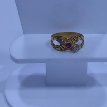 22KT/916 Yellow Gold Celestial Cross Ring For Women
