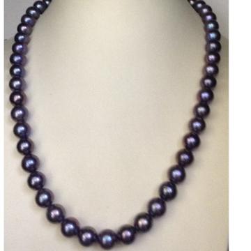 Freshwater Bluish Grey Round Pearls Mala