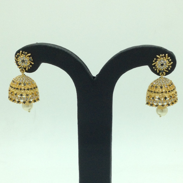 White and Black CZ Stones Ear Jhumki JER0067