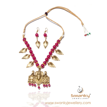 Goddes pendant with maroon color beds necklace set... by Swanky Jewellery