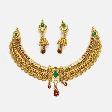 22KT Gold Antique Necklace Set RHJ-4628