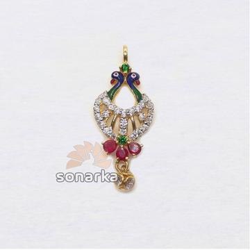916 Gold Hallmarked Peacock Design CZ Diamond Pendant