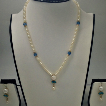White , sky blue cz and pearls pendent set with fl...