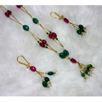 gold manimoti fancy unique red & green dokiya chain