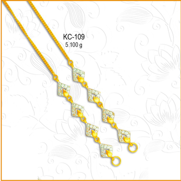 916 Gold Fancy CZ Diamond Earchain KC-109