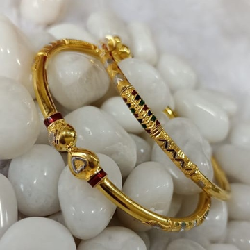 916 Ladies Gold Designer Cooper Bangle SG64 by