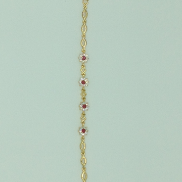 White And Red CZ Golden Alloy Chain Bracelet JBG00...