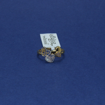 22KT Hallmarked 3 Heart Ladies Ring by Simandhar Jewellers