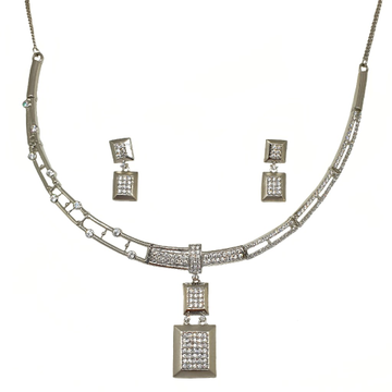 925 sterling silver rectangle shape modern necklace set mga - nks0098