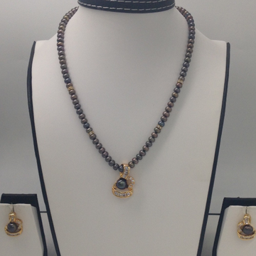 White CZ And Black Pearls PendentSet With Black FlatPearls Mala JPS0160