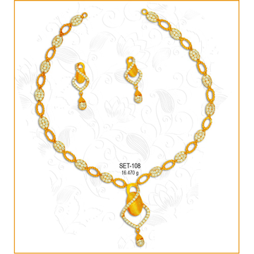916 Gold Fancy CZ Necklace Set-108