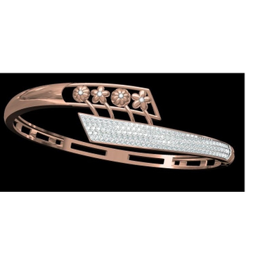 18kt cz rose gold diamond ladies kada