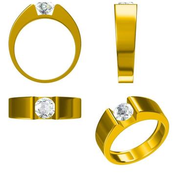 22K SINGLE DIAMOND GENTS RING by