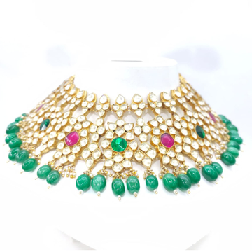 Maharani style choker kundan work with hanging emerald moti & ruby necklace set 1582
