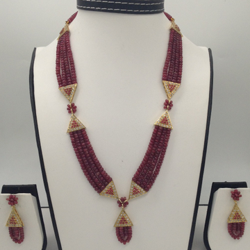 White And Red CZ Samosa Set With 4 Line Ruby Mala...