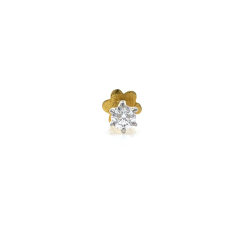 18kt / 750 yellow gold classic single 0.07 cts diamond nose pin 9np128