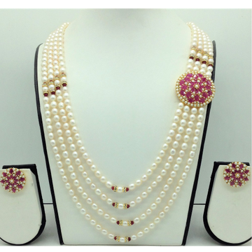 Pearls and Red CZ BroochSet With 4Lines OvalPea...