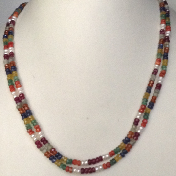 Natural navratan round faceted beeds 2 layers necklace