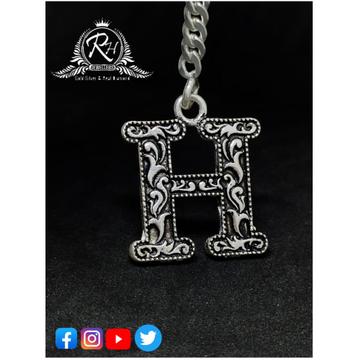 silver H alphabet oxidize keychain RH-KT33
