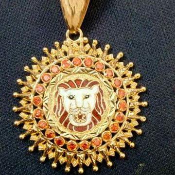 916 Gold Meenakari Lion Design Pendant