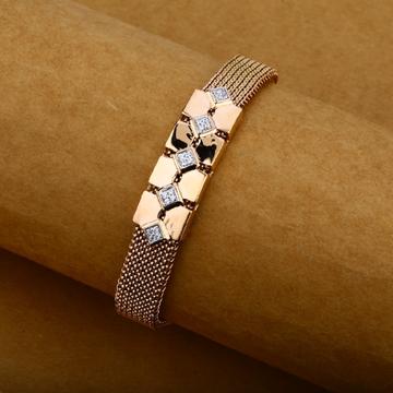 Mens Rose Gold 18K Spring Leather Bracelet-MLB07