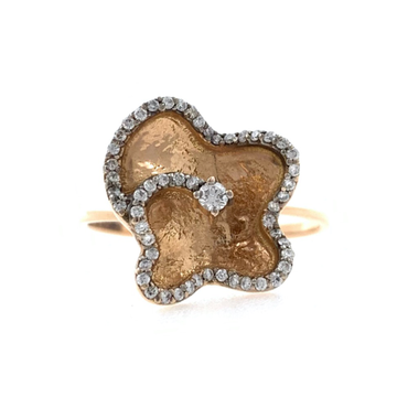 18kt / 750 Rose Gold Butterfly Diamond Ladies Ring...
