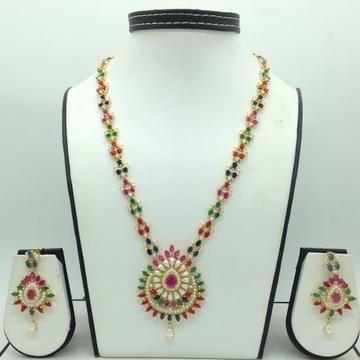 Multicolour CZ and White Pearls Long Haar Set JNC0...