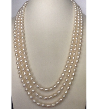 Freshywater White Oval Pearls Necklace 3 Layers
