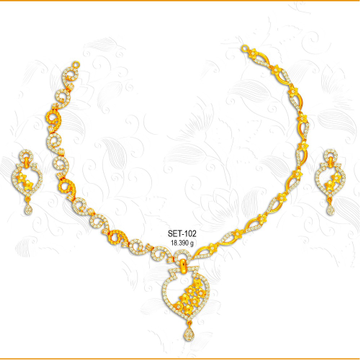916 Gold Fancy CZ Necklace Set-102