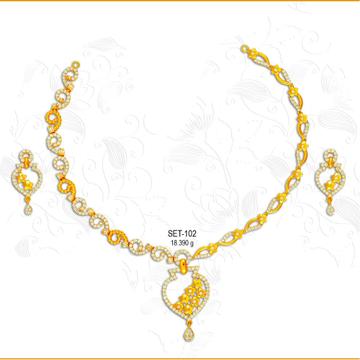 916 Gold Fancy CZ Necklace Set-102