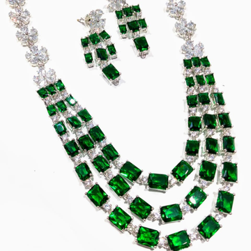 White and green cz necklace set jmk0001