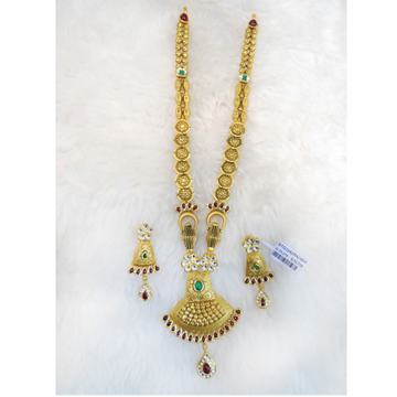 22KT Gold Antique Bridal Long Necklace Set RHJ-6001