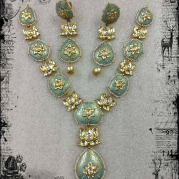 916 Gold mini long kundan meenakari  Neckalce set