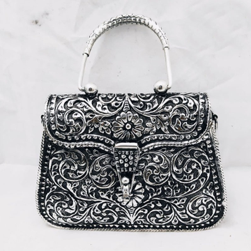 925 pure silver ladies purse with handle in Deep C...