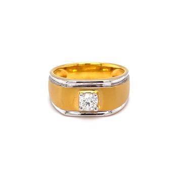 Solitaire band engagement diamond ring in matt fin...