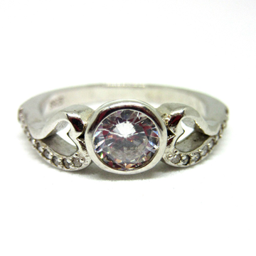 Silver single stone classic ring sr925-27