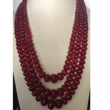 Natural Red Transparent Cubic Zirconia Round Kharbhuja Beeds 3 Layers Necklace