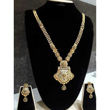 916 Jadtar Antique Long Gold Necklace Set