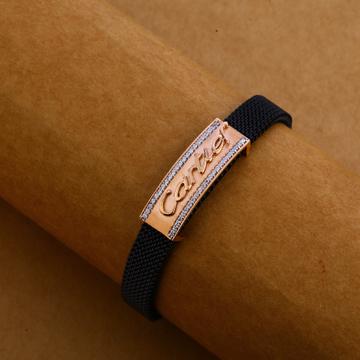 750 Rose Gold Designer Mens Leather Bracelet MLB24...