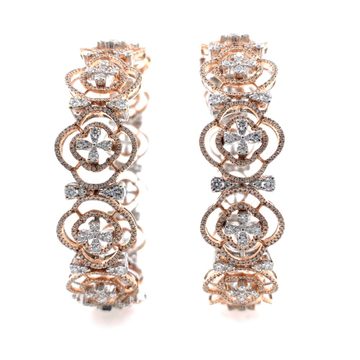 Magnifique Diamond Bangle Pair in Rose Gold 7BNG1