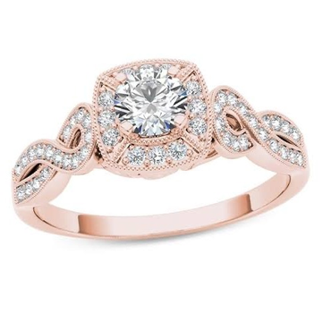 18kt Rose Gold and Diamond engagement ring For Women