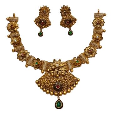 22K Gold Antique Oxidised Modern Necklace Set MGA...