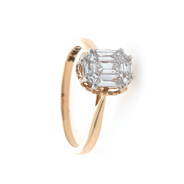 Beautiful engagement ring in modified cut diamonds studded in 18k rose gold - 0.39 carats - 2.440 grams - 0lr29