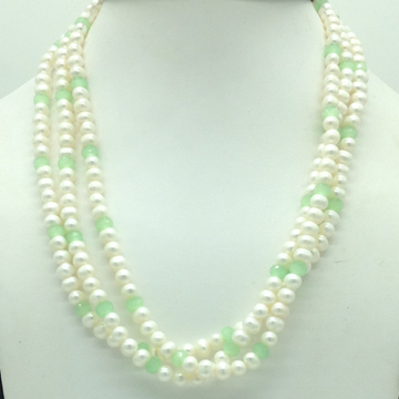 White PotatoPearls with Green Stones 3LayersNec...