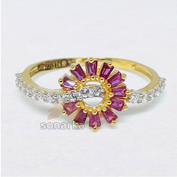 916  Ring Pink CZ Stone Trendy Design for Ladies