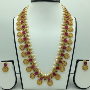 Multicolour CZ Antique Kasu Long Necklace Set JNC0...