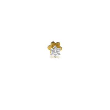 18kt / 750 yellow gold classic single 0.06 cts diamond nose pin 9np152